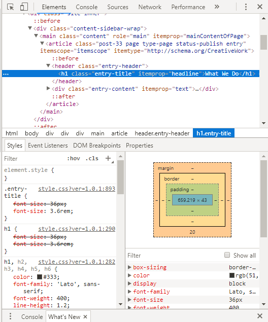 Code inspector in the Chrome browser