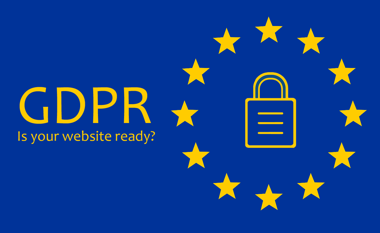 GDPR: Is your website ready (image shows European flag with padlock)
