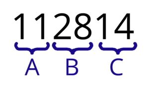 The number 112814 shown as three pairs of numbers