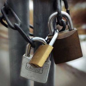 a set of locked padlocks